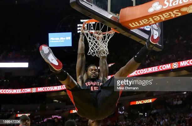 Amir Johnson of the Toronto Raptors dunks during a game against the Miami Heat at American Airlines Arena on January 23 2013 in Miami Florida