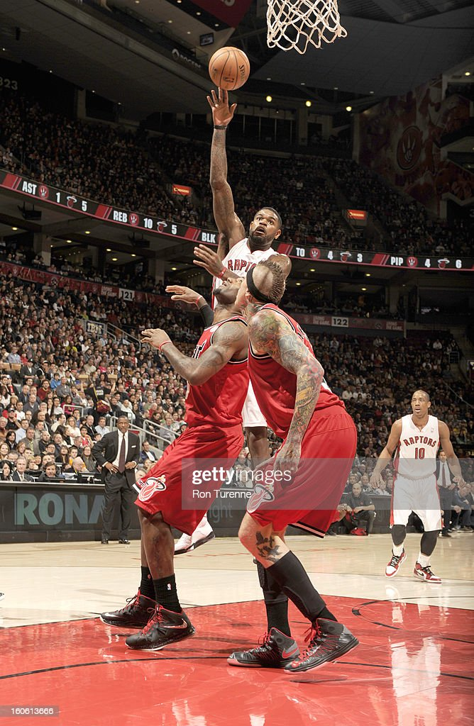 Amir Johnson #15 of the Toronto Raptors goes to the basket during the game between the Toronto Raptors and the Miami Heat during the game on February 3, 2013 at the Air Canada Centre in Toronto, Ontario, Canada.