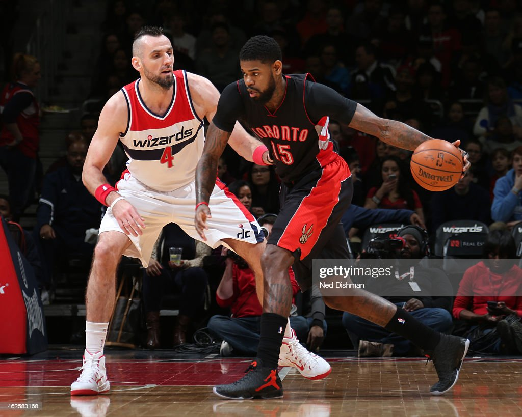 Amir Johnson #15 of the Toronto Raptors handles the ball against the Washington Wizards on January 31, 2015 at Verizon Center in Washington, DC.