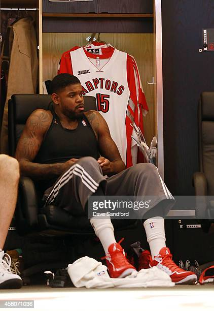 Amir Johnson of the Toronto Raptors prepares to face the Atlanta Hawks during their NBA game at the Air Canada Centre on October 29 2014 in Toronto...
