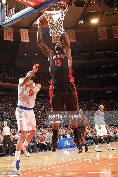 Amir Johnson of the Toronto Raptors shoots against Tyson Chandler of the New York Knicks on February 13 2013 at Madison Square Garden in New York...