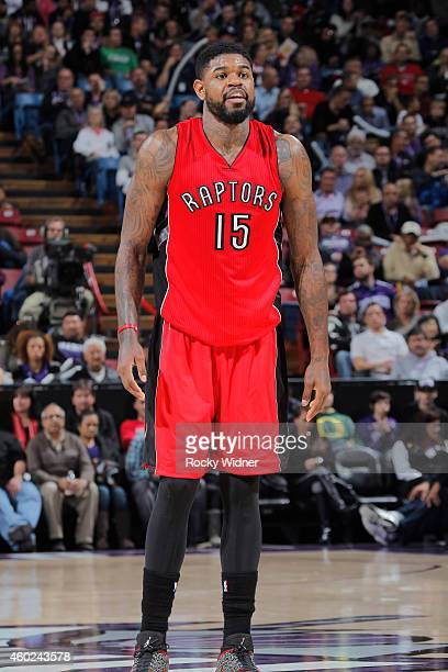 Amir Johnson of the Toronto Raptors stands on the court during the game against the Sacramento Kings on December 2 2014 at Sleep Train Arena in...