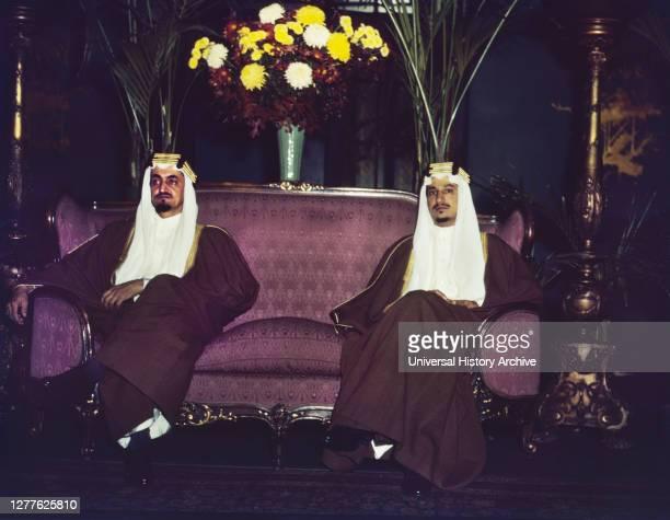 Amir Khalid [right] and Amir Faisal, sons of King Ibn Saud of Saudi Arabia, Mayflower Hotel, Washington, D.C., USA, John Rous, U.S. Office of War...