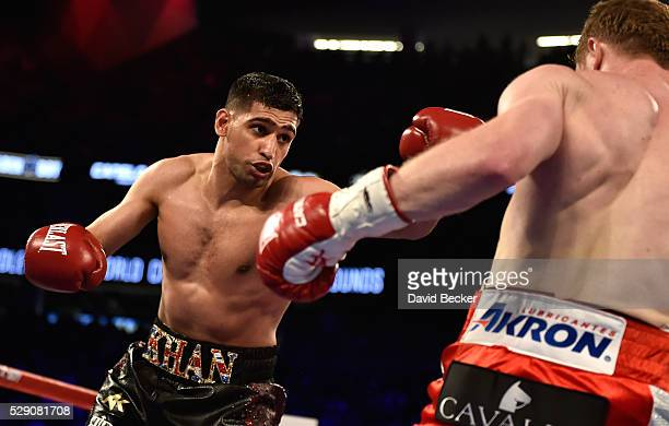 Amir Khan and Canelo Alvarez battle during a WBC middleweight title fight at TMobile Arena on May 7 2016 in Las Vegas Nevada Alvarez won by a sixth...