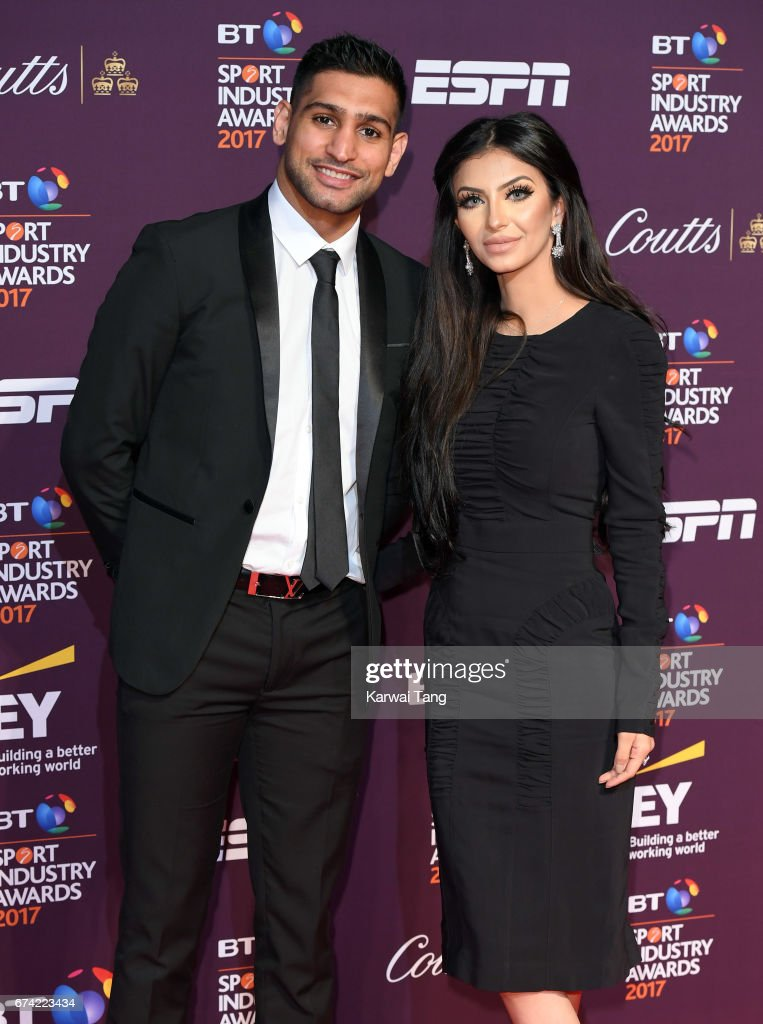 Amir Khan and Faryal Makhdoom attend the BT Sport Industry Awards at Battersea Evolution on April 27, 2017 in London, England.