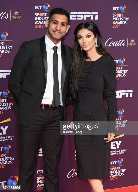 Amir Khan and Faryal Makhdoom attend the BT Sport Industry Awards at Battersea Evolution on April 27 2017 in London England