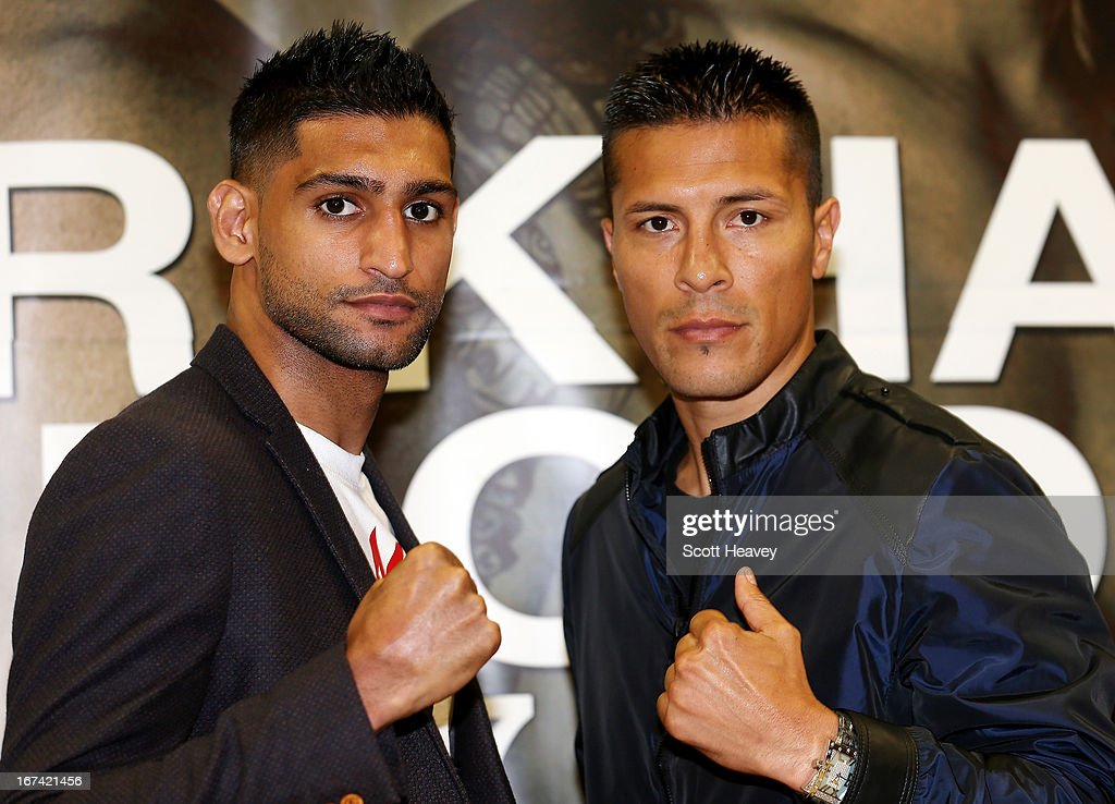 Amir Khan and Julio Diaz during a Press Conference at Mercure Sheffield St. Paul's Hotel & Spa on April 25, 2013 in Sheffield, England.