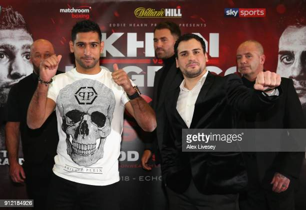 Amir Khan and Phil Lo Greco pose for a photo during an Amir Khan and Phil Lo Greco press conference at the Hilton Hotel on January 30 2018 in...