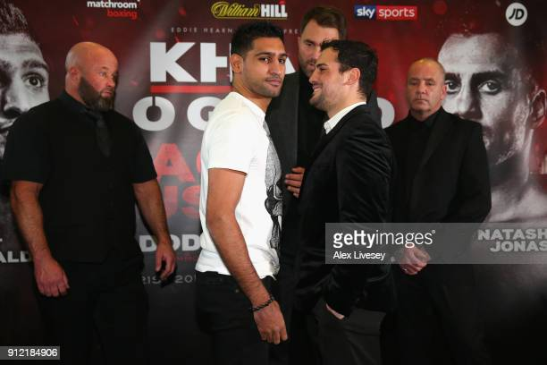 Amir Khan and Phil Lo Greco square up during an Amir Khan and Phil Lo Greco press conference at the Hilton Hotel on January 30 2018 in Liverpool...