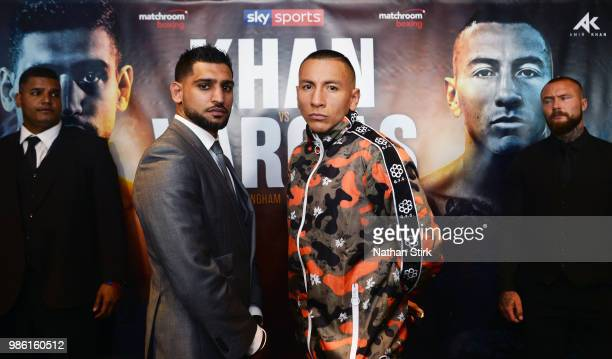 Amir Khan and Samuel Vargas pose for a photograph during a Press Conference ahead of the fight between Amir Khan and Samuel Vargas at Barclaycard...