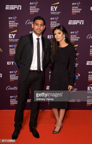 Amir Khan and wife Faryal pose on the red carpet during the BT Sport Industry Awards 2017 at Battersea Evolution on April 27 2017 in London England...