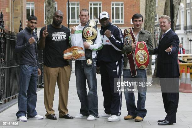Amir Khan Danny Williams Enzo Maccarinelli Matt Skelton and Joe Calzaghe pose for photos as Frank Warren promotes his boxers for the World...