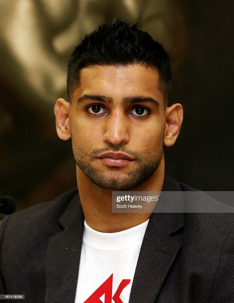 Amir Khan during a Press Conference at Mercure Sheffield St. Paul's Hotel & Spa on April 25, 2013 in Sheffield, England.
