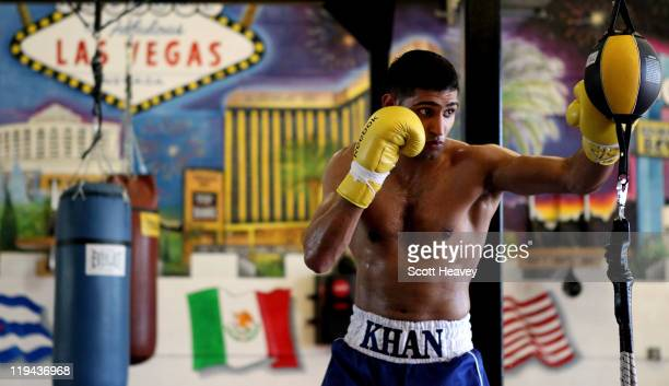 Amir Khan during a training session the IBA gym on July 19 2011 in Las Vegas Nevada