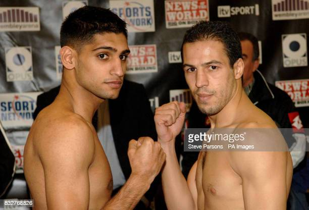 Amir Khan during a weighin at the Wembley Plaza Hotel London