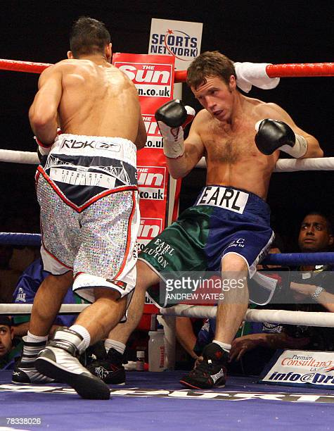 Amir Khan finishes off Graham Earl during their commonwealth Lightweight Title fight at the Bolton Arena , Bolton , north-west England, 08 December...