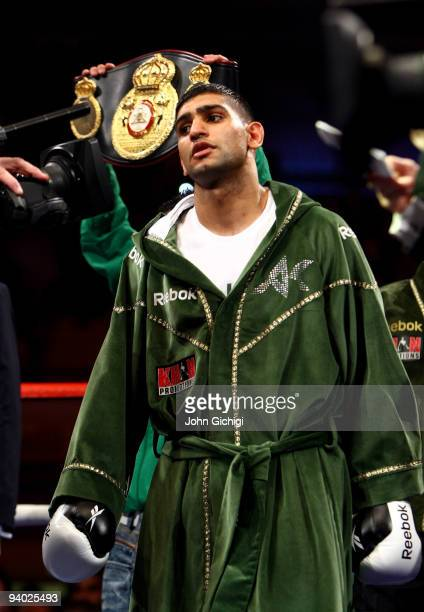 Amir Khan gets ready before his fight against Dmitriy Salita of the US for the WBA Light Welterweight title on December 5 2009 in Newcastle upon Tyne...