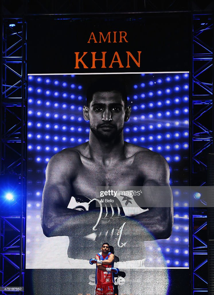 Amir Khan heads to the ring before his welterweight fight against Chris Algieri at Barclays Center of Brooklyn on May 29, 2015 in New York City.