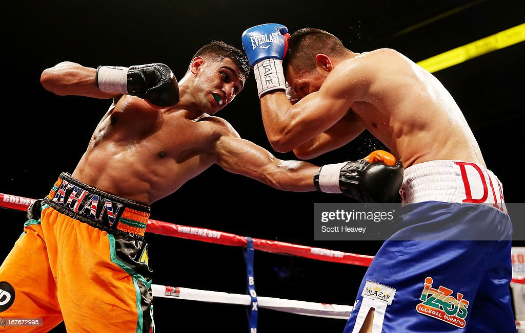 Amir Khan in action against Julio Diaz at Motorpoint Arena on April 27, 2013 in Sheffield, England.