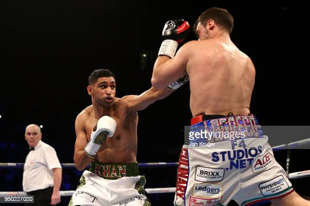 Amir Khan in action against Phil Lo Greco during their Super Welterweight bout at Echo Arena on April 21 2018 in Liverpool England