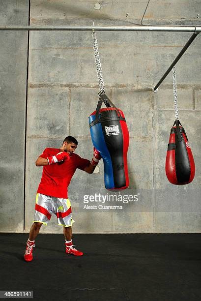 Amir Khan in action during a workout session at Virgil Hunter's Gym on April 24 2014 in Hayward California Kahn is preparing to take on Luis Collazo...