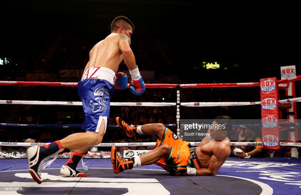 Amir Khan is knocked down by Julio Diaz at Motorpoint Arena on April 27, 2013 in Sheffield, England.