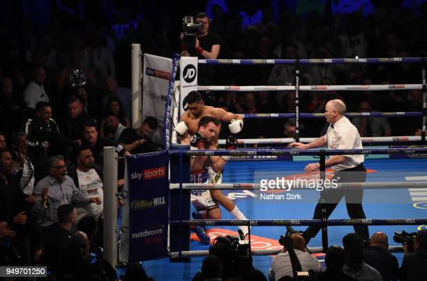 Amir Khan knocks out Phil Lo Greco during their welterweight title fight at Echo Arena on April 21 2018 in Liverpool England