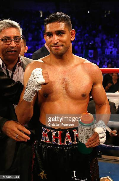 Amir Khan leaves the ring after the WBC middleweight title fight at TMobile Arena on May 7 2016 in Las Vegas Nevada