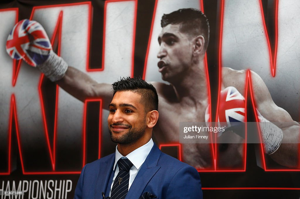 Amir Khan looks on during a press conference to preview the fight between Amir Khan and Canelo Alvarez at the Park Plaza Riverbank Hotel on February 29, 2016 in London, England.