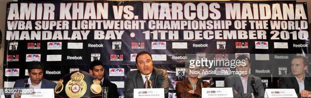 Amir Khan manager's Asif Vali WBA Super Lightweight World Champion Amir Khan Golden Boy Promotions CEO Richard Schaefer WBA Super Lightweight Interim...
