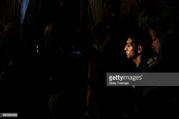 Amir Khan of Great Britain is introduced prior to fighting against Paulie Malignaggi during the WBA light welterweight title fight at Madison Square...