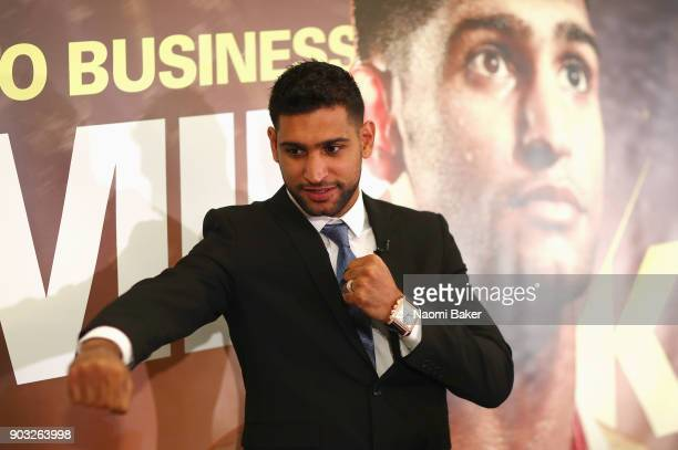 Amir Khan poses for a photograph after speaking to the media during his Press Conference at the Dorchester Hotel on January 10 2018 in London England