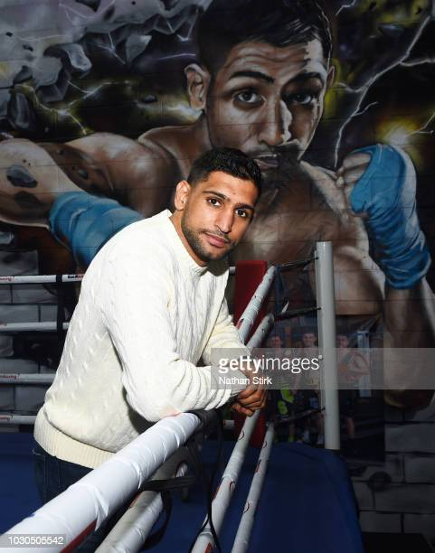 Amir Khan poses for a portrait during a media day at the Amir Khan Boxing Academy on September 10 2018 in Bolton England