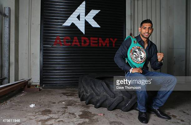 Amir Khan poses for photographers during a media day at The Amir Khan Academy on June 2 2015 in Bolton England