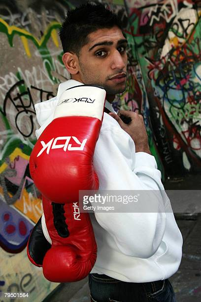Amir Khan poses near the The British Film Institute for the launch of his new Reebok deal where he also previewed a 3D film of his training regime on...