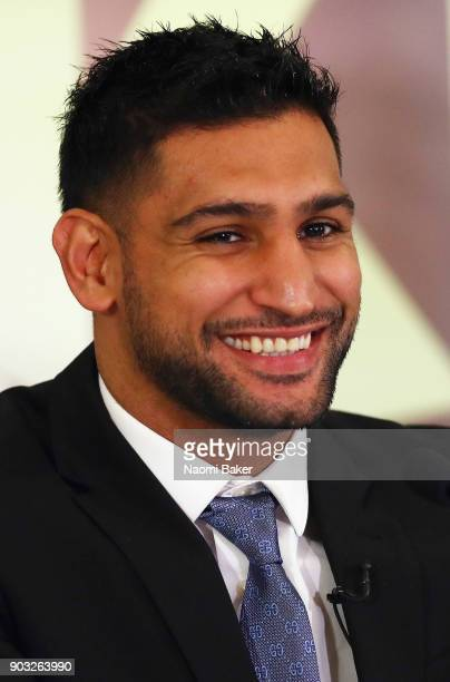 Amir Khan speaks to the media during his Press Conference at the Dorchester Hotel on January 10 2018 in London England
