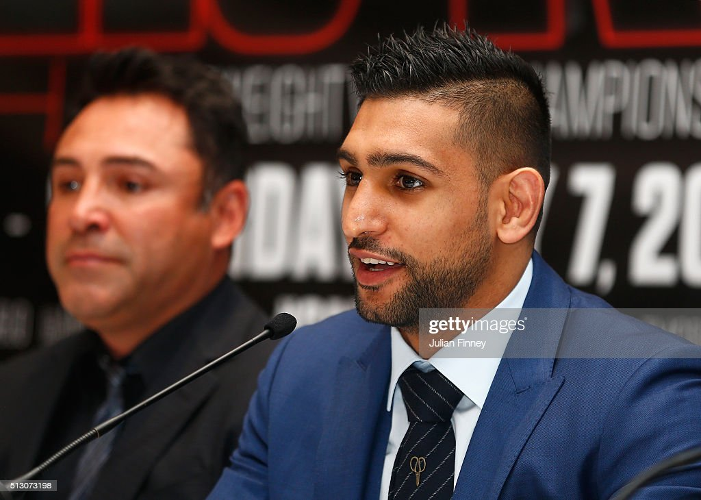 Amir Khan talks to the media during a press conference to preview the fight between Amir Khan and Canelo Alvarez at the Park Plaza Riverbank Hotel on February 29, 2016 in London, England.