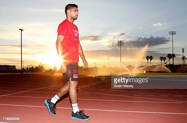 Amir Khan trains during a track session on July 19 2011 in Las Vegas Nevada
