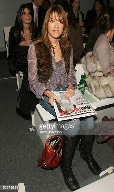 Amir Leever marketing editor at Cosmopolitan magaizne attends the Jeffrey Chow Fall 2005 fashion show during the Olympus Fashion Week at Bryant Park...