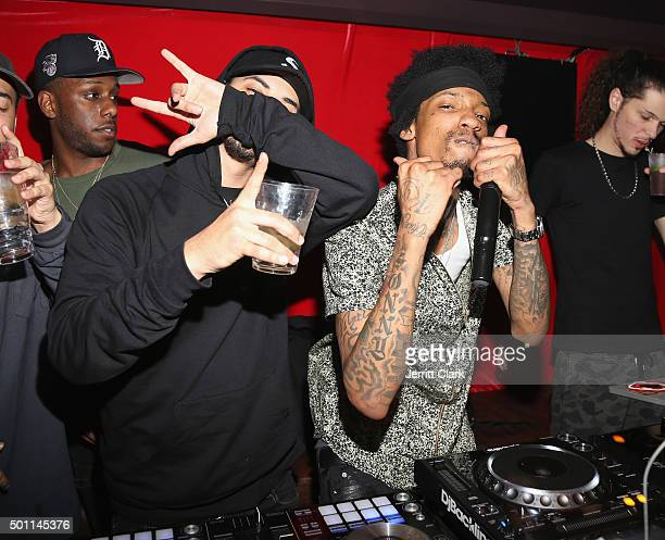 Amir Obe and Sonny Digital perform at Profound Aesthitics Art Basel Partnership Event at Delano Hotel on December 3 2015 in Miami Florida