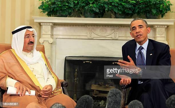 Amir of Kuwait, Sheik Sabah Al Ahmed Al Sabah meets with U.S. President Barack Obama in the Oval Office September 13, 2013 in Washigton, DC....