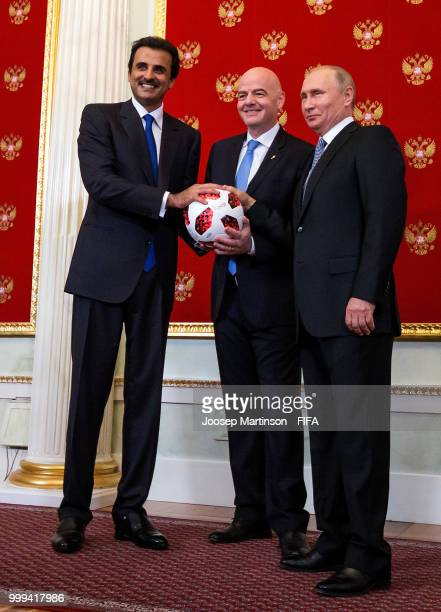 Amir of Qatar Sheikh Tamim bin Hamad Al Thani and FIFA president Gianni Infantino participate in a handover ceremony ahead of the 2018 FIFA World Cup...