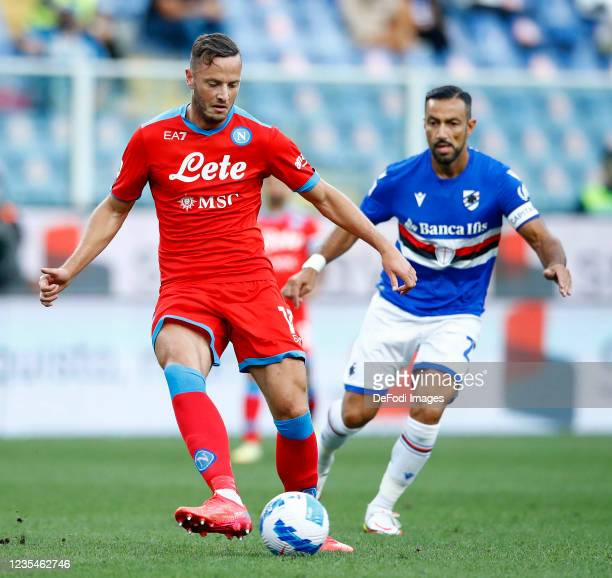 Amir Rahmani of SSC Napoli controls the ball during the Serie A match between UC Sampdoria and SSC Napoli at Stadio Luigi Ferraris on September 23,...