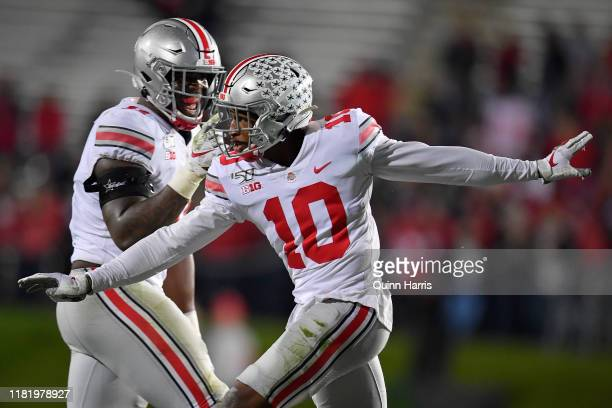 Amir Riep of the Ohio State Buckeyes celebrates after his interception in the second half against the Northwestern Wildcats at Ryan Field on October...