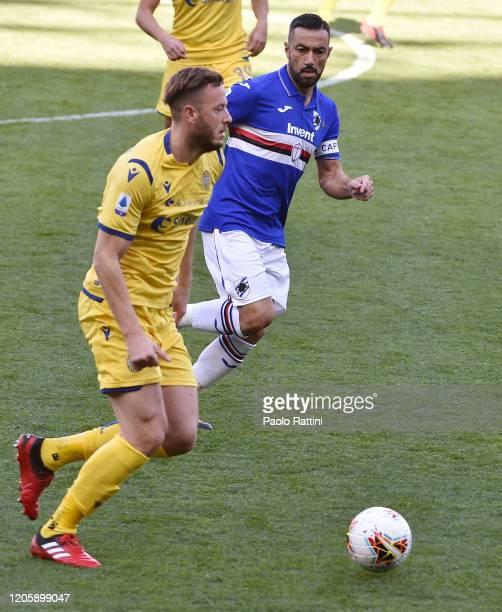 Amir Rrahmani of Hellas Verona and Fabio Quagliarella of UC Sampdoria during the Serie A match between UC Sampdoria and Hellas Verona at Stadio Luigi...