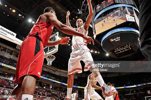 Amir Williams of the Ohio State Buckeyes defends the inbound pass against the Nebraska Cornhuskers on January 3 2012 at Value City Arena in Columbus...