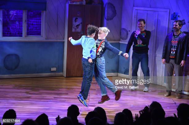 Amir Wilson Connor Davies Dean Chisnall and John Hopkins perform during the press night performance of 'The Secret Diary Of Adrian Mole Aged 13 3/4'...
