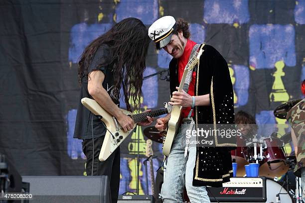 Amir Yaghmai and Jeramy 'Beardo' Gritter of the Voidz perform at Primavera Sound Festival on May 29 2015 in Barcelona Spain