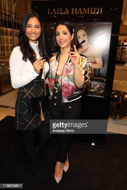 Amira Aly and Laila Hamidi attend the 'Easy to pack brushes' launch by Laila Hamidi at Breuninger on March 16, 2019 in Duesseldorf, Germany.