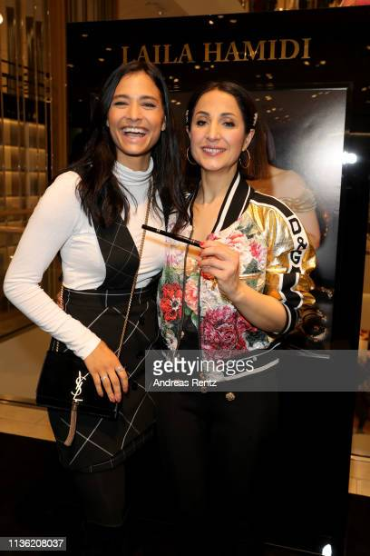 Amira Aly and Laila Hamidi attend the 'Easy to pack brushes' launch by Laila Hamidi at Breuninger on March 16 2019 in Duesseldorf Germany